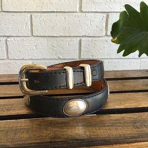 NOCONA Black Leather Belt Silver Oval Conchos
